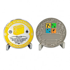 500 Finds - Geo- Achievement Award Geocoin